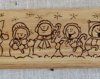 Snowmen Woodburning Plaque Holiday Decor Sign Christmas Sign Holiday Pyrography Sign Five Singing Snowmen Playing Wood burned sign