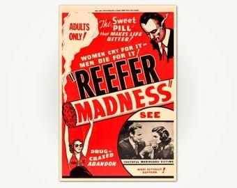 Reefer Madness Vintage Cannabis Exploitation Movie Poster Print