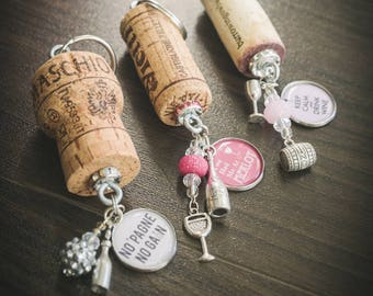 Cork Keychains - Upcycled Wine & Champagne Cork Keychains