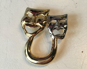 Vintage Comedy and Tragedy Two Tone Gold Tone and Silver Tone Brooch