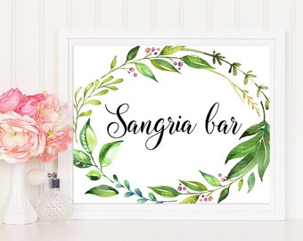 Sangria Bar Sign, Printable Sangria Bar Sign, Sangria Bar, Greenery Bar Sign, Greenery Sangria Bar Sign, Wedding Sign, Shower Sign, leafy