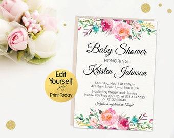 Baby Shower Invitation Template, Editable Baby Shower Invite, Floral Baby Shower Invitation, Baby Shower Invitation, Boho Baby shower Invite