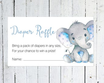 Diaper Raffle Ticket, Baby Shower, Elephant, Blue and Gray, Diaper Raffle Insert, Greenery, Printable, Instant Download