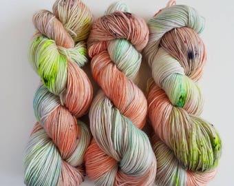 Winging It- Hand Painted Sock Yarn- Hand Dyed Superfine Alpaca Superwash Merino Nylon- 437 yards