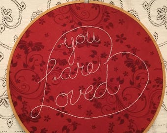 "8"" 'You are Loved"" Heart Embroidery Hoop"