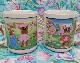 Spring Easter Bunny Mugs Ceramic with Bunny Handle