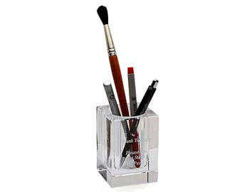 Personalized Crystal Pen Holder - Custom Glass Pen Pot - Crystal Desk Tidy - Executive Desk Accessories -  Laser Engraved Make Up Brush Tidy