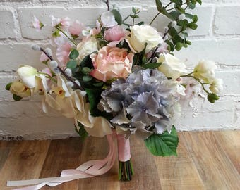 Custom Made Ivory, Pink and Blue Artificial Wedding Bouquet Featuring Hydrangeas, Peonies, Roses, Orchids