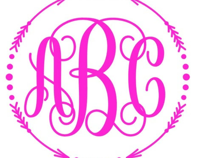 Monogram vinyl decal car tumbler cup decal personalized Scroll Arrow Frame Customized