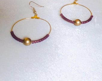 Hoop earrings plum earrings gold