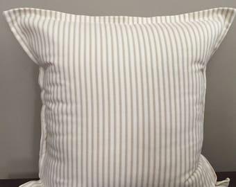 Tan Ticking Stripe Pillow w/Flat Ruffle Trim, Throw Pillow Cover, Farmhouse Pillow, Decorative Pillow, Pillow Cover 18x18 or 20x20