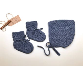 100% cashmere baby set  Pixie Bonnet  hat  and booties color blue jeans, hand knitted,   size 3-6 months - READY TO SHIP