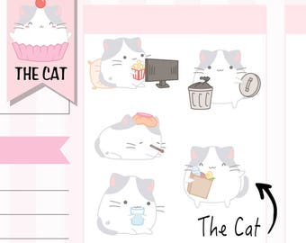 C005 Cat Planner Stickers,Cat Stickers,Computer,Movie,Kawaii Stickers,Hand Drawn Stickers,Cute Stickers,Planner Stickers,Agenda Stickers