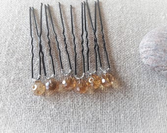 Wedding bridal hair pin Bobby pin gold crystal wedding bridal hair bun - pin set of 6