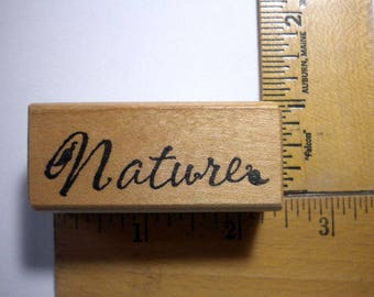 Rubber Craft Stamp - NATURE SCRIPT by Raindrops on Roses, 2000,pay it forward, PIF