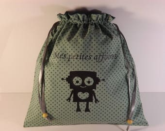 Personalized pouch for boy for kindergarten clothes