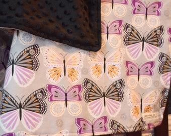 Purple Butterfly baby blanket minky dot black reversible  nursery baby shower