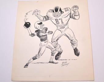 Original Cartoon Drawing, Bob Jenney,  Pulp Artist, 1970s Original Art, Pen and Ink, Football Drawing