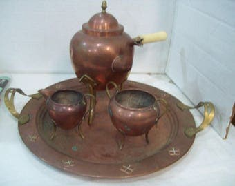 Antique OH Lagerstedt Copper and Brass Coffee Set with Tray Eskilstuna Sweden C5 Free Shipping