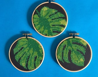 Tropical decor, monstera cross stitch pattern, lush green decor, triple hoop pattern, botanical xstitch chart, tropical theme pattern, pdf
