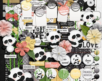 Pandamonium - Digital Scrapbooking Kit - 18 Papers - 60 Plus Elements - Paper Size - 12 x 12 Inches
