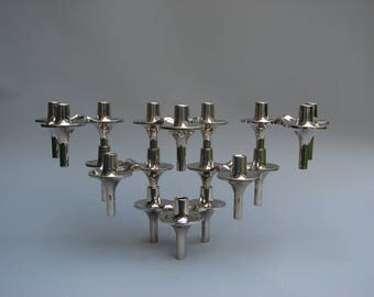 Vintage design 6 BMF Orion Atomic modular candle holders chrome candlesticks