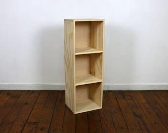Three Cube Bookshelf Finished/Unfinished Modern Apartment Minimalist  Storage Furniture