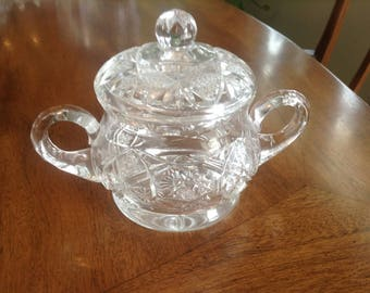 Fancy Lead Crystal Sugar Bowl