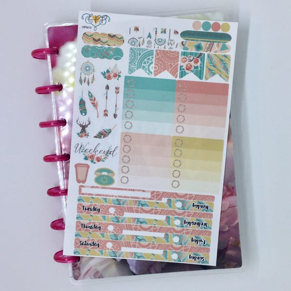Boho feather mini happy planner weekly sticker kit mini for Happy planner accessories
