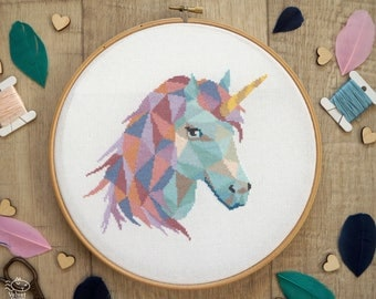 Unicorn Cross Stitch Pattern PDF, Geometric Cross Stitch, Unicorn Embroidery, Modern Cross Stitch, Cute Nursery Decor, Instant Download