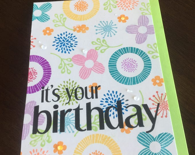 Handmade Card, Stamped Card, Birthday Card, Cheerful Card, Colorful Card, Layered Card, Funny Birthday Card