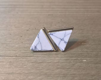 White Marble with Gold - Stud Earrings