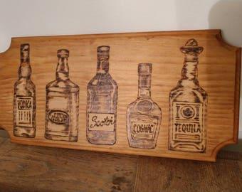 Bar/ liquor/ woodburned plaque /coat rack/ or key holder
