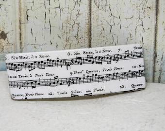 Hair clip, rectangular, black and white, musical notes - pine hair, rectangular, white and black musical notes