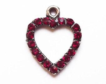 23 mm fuchsia Crystal Rhinestone Heart Charm
