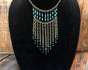 Onyx/turquoise glass chain necklace