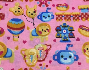 "Toys on Pink fabric, by the half yard, 43-44"" wide, 100%cotton, novelty fabric, toy fabric, pink fabric, girls novelty fabric, cotton fabric"