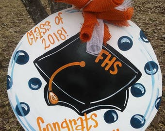 Graduation Door Hanger, congrats grad door hanger, graduation cap door hanger, school spirit door hanger, class of door hanger