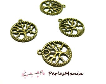 10 pendants tree two-sided Bronze 20.5 mm 2Y1548, DIY