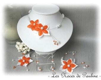 Orange and white flower satin wedding set has Julia 10 pieces