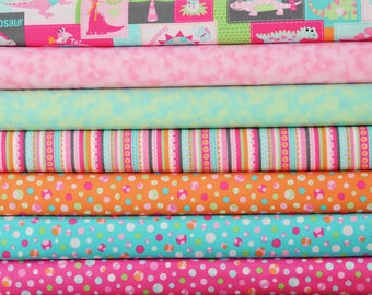 Girly-O-Saurus by Heidi Pridemore for Marcus Fabrics ~ 7 FAT QUARTER BUNDLE ~