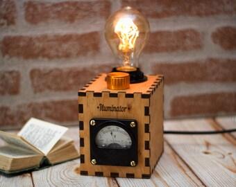 Wood lamp - Edison lamp - Vintage lamp - Voltmeter lamp