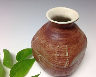 oolong matte vase, square vase, textured wheel thrown vase, brown and green vase, bud vase (1789)