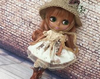 Blythe clothes, Blythe dress, , doll dress, blythe outfit, doll set, blythe couture, bjd clothes, blythe fashion, blythe hat, blythe socks