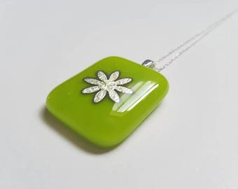 Green Glass and Silver Flower Pendant