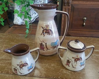 Vintage Nasco Del Coronado Western Cowboy Ranch Hand Wagon Coffee Tea Set Creamer Sugar Bowl Pitcher