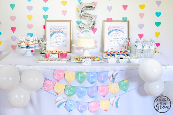 Pastel Rainbow Party Package Printableeditable Rainbow Party Decor