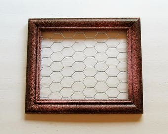 Pink and Brown Chicken Wire Frame, Framed Earring Holder