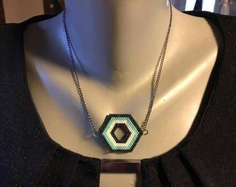 Turquoise black miyuki beads fashion necklace