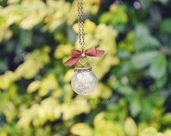 Globe egrets dandelion seed necklace